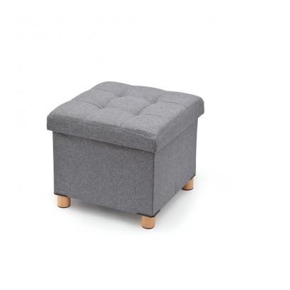 Pouf almacenaje gris con patas de madera 38x38x34cm