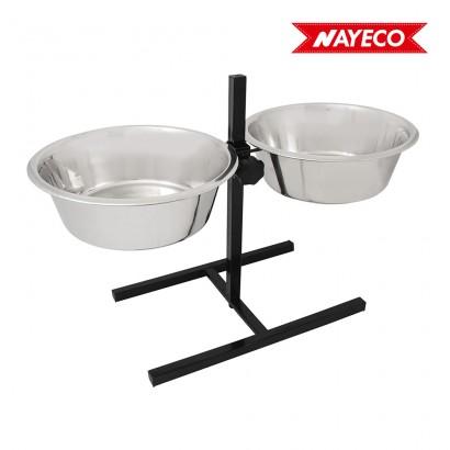 Set bowls-comedero regulable en altura acero inox. 2x2,8l (soporte incluido) nayeco