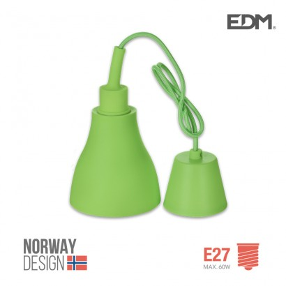 *ult. unidades* colgante de silicona norway design e27 60w verde edm