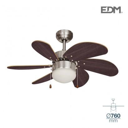 Ventilador de techo modelo aral wengue/niquel satinado 50w ø aspas 76 cm edm
