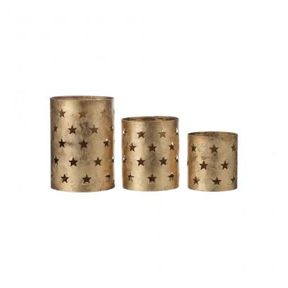*ult.unidades* set 3 portavelas metalicos color dorado 16x12cm
