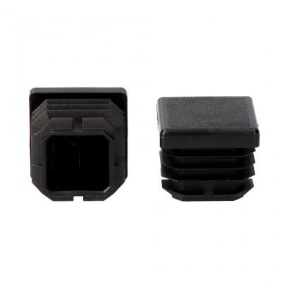 Contera interior cuadrada con aleta 22x22mm negra