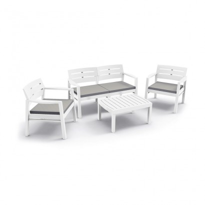 Conjunto salon para interior y exterior: 2 butacas, 1 sofa de 2 plazas con cojines y mesita (uso domestico) ipae pro garden